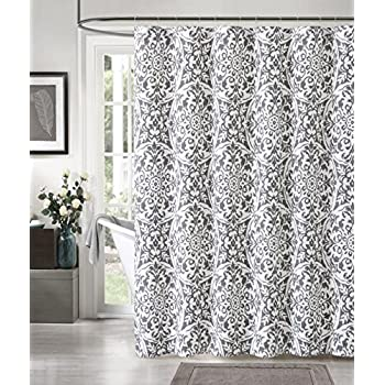 Amazon Com Winter Grey White Fabric Shower Curtain Snowflake