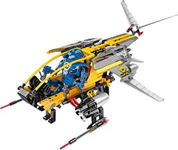 DROP SHIP with Stealth Wings Lego Hero Factory Series Vehicle Set #7160 Fins and Soft Exhaust Hoses Plus Pilot Figure Total Pieces: 394