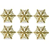 DII Napkin Rings for Christmas, Holidays, Dinners, Parties, Everyday Use, Set of 6, Gold Snowflake