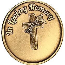 in Loving Memory Cross Rose Medallion Memorial Bereavement Token Those We Love