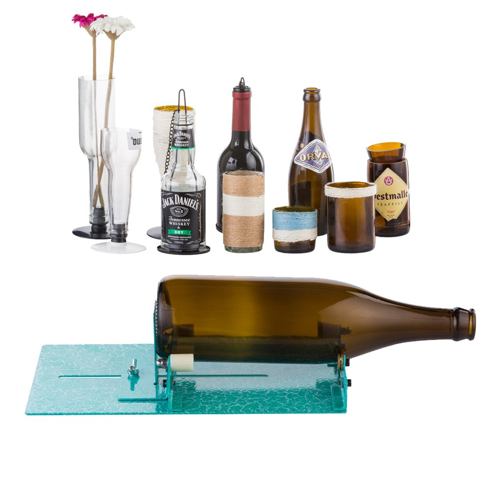 Glass Bottle Cutter, Stained Glass Cutting Tool Kit Glass Wine Jar Etching for DIY Glassware, Lamps, Vases, Candle Holders - for Larger, Longer Bottle and Jar- Turquoise