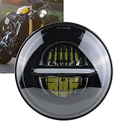 7'' Round LED Projection Headlight compatible for Car Sportster Motorcycle Headlamp (Black) …: Automotive