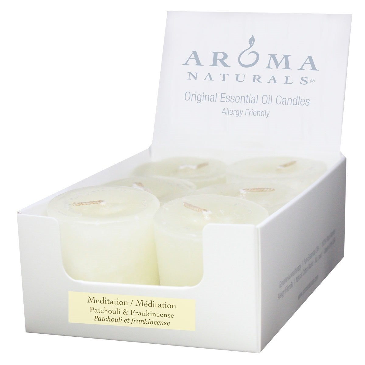 Aroma Naturals Votive Candles with White, Patchouli and Frankincense, Meditation, 6 Count