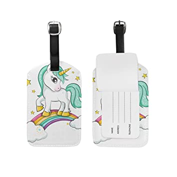 b3c059dbb2ed Amazon.com | Leather Luggage Tag Unicorn Stand On Rainbow Baggage ...