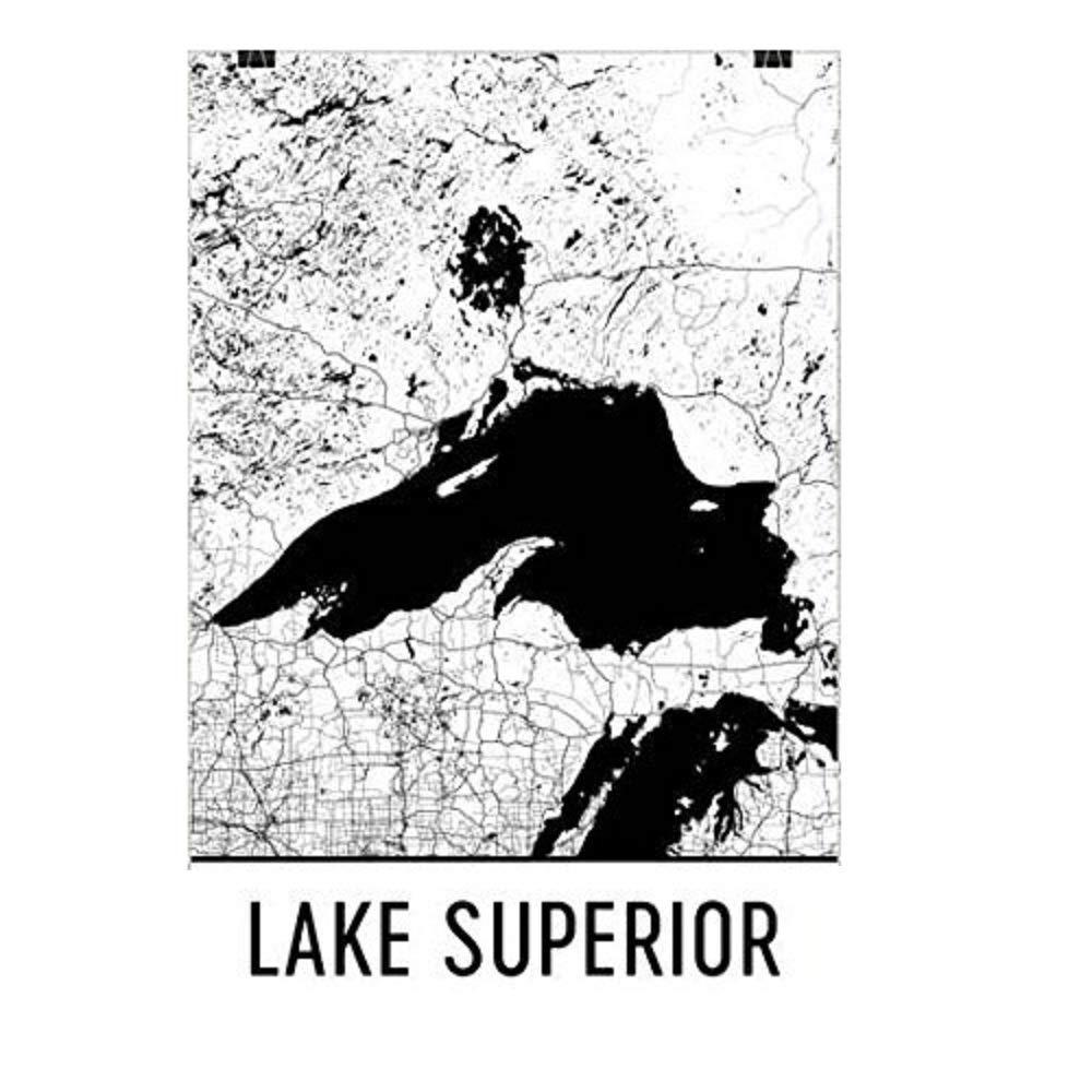 Modern Map Art Carte de l'Les Grands Lagos, Lac supérieure, Lac