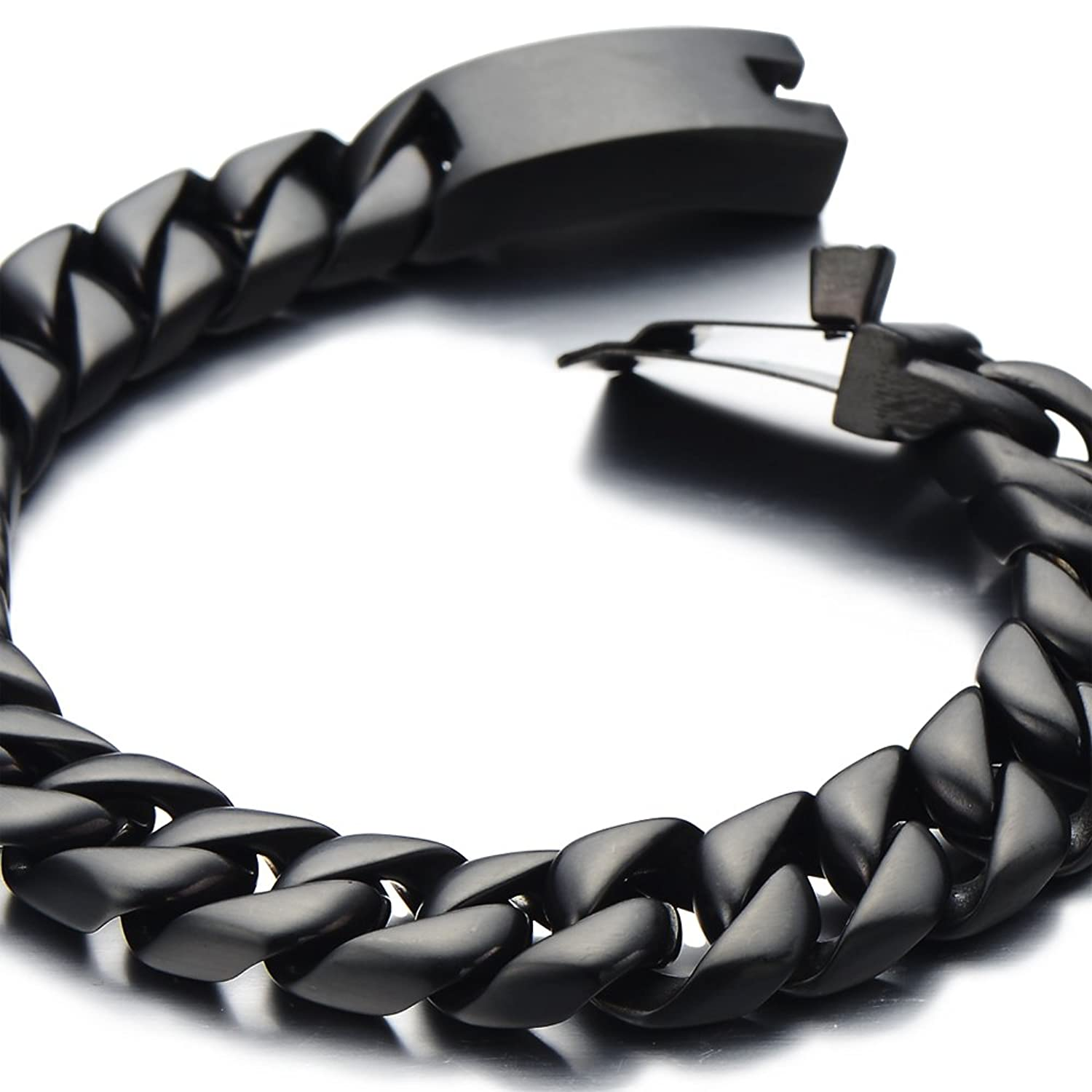 id steel jewelry az black ssbq cuban bling mens hbj stainless bracelet link chain curb