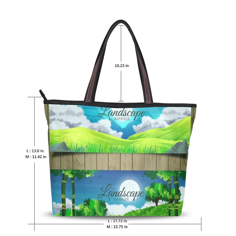 LEEZONE Casual Shoulder Handbag with Landscape Printing for Femal(Women,Lady,Girl)