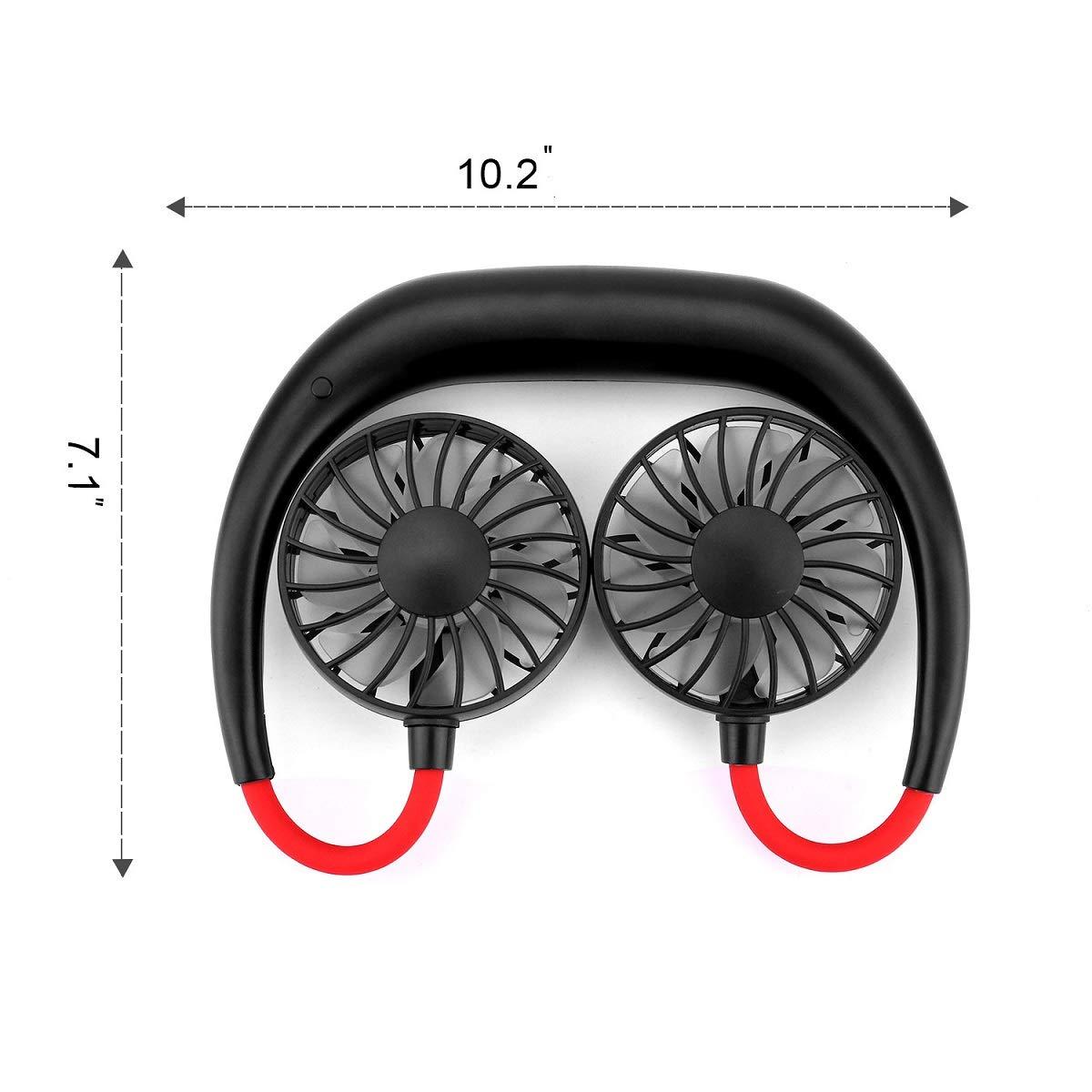 Klettern Spielzeit 3,5 bis 12 Stunde USB Fan Handsfree Handventilator Sommer Outdoor Sport CENXINY Tragbare Ventilator f/ür Outdoor L/üfter f/ür Wandern 3 Geschwindigkeit einstellbar
