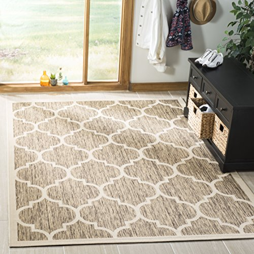(Safavieh Courtyard Collection CY6914-242 Brown and Bone Indoor/ Outdoor Area Rug (5'3