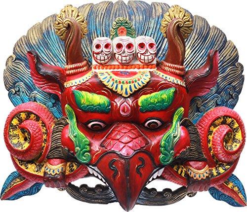 Exotic India Tibetan Buddhist Large Garuda Wall Hanging Mask (Made in Nepal) - Wood Statue
