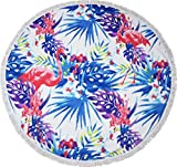 lei xiao jie Same Pattern Different Quality 2018 New Developed Material Thick Round Beach Towel Round Beach Blanket 100% Microfiber Terry Quality with Tassels 62 Inches Tropical Palm Flamingo