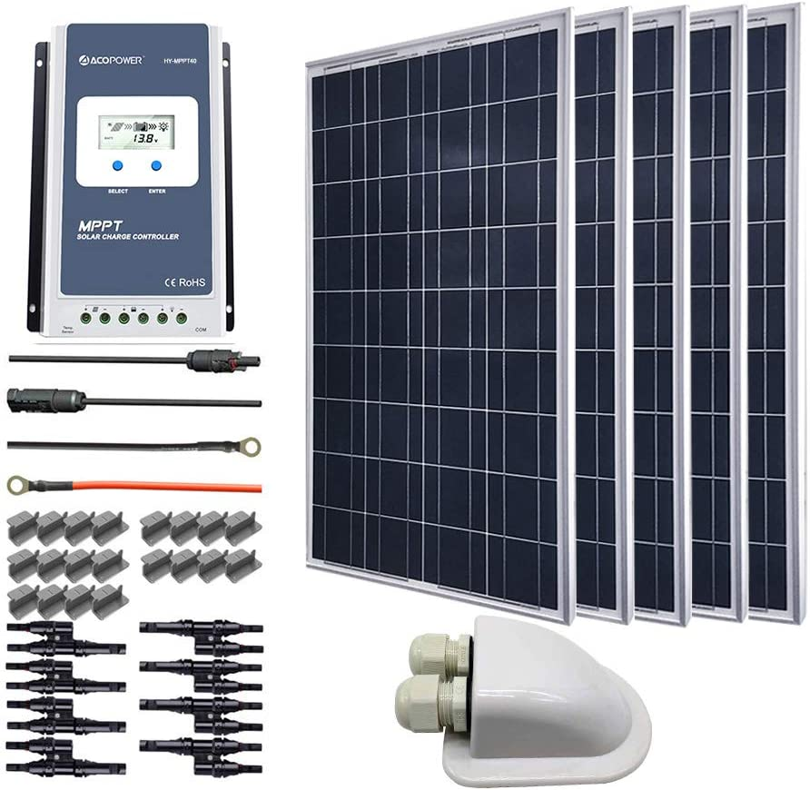 ACOPOWER 500 Watts 12/24 Volts Polycrystalline Panel Solar RV Kits with 40A MPPT LCD Charge Controller/Mounting Brackets/Y Connectors/Solar Cables/Cable Entry housing 61QJCsCw2BjL
