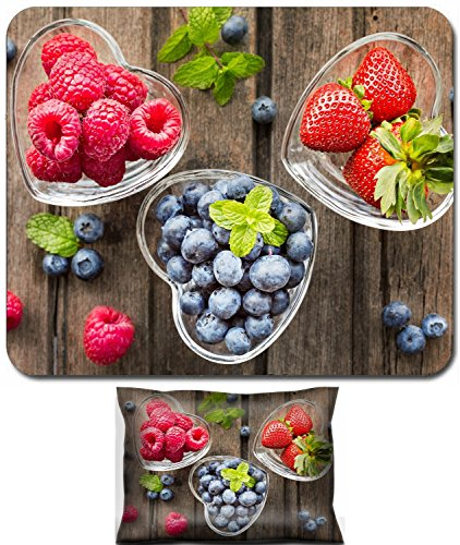 Luxlady Mouse Wrist Rest and Small Mousepad Set, 2pc Wrist Support design IMAGE: 41294551 Mix of fresh berries in three glass ramekins in shape of heart on wooden background top view horizontal compos ()