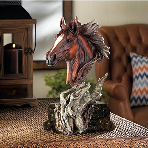 Statues Driftwood Stallion Sculpture Horse Horses New Gift Den Room Office Mantle Table - Wood Sculpture Horse