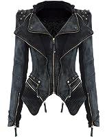 CNlinkco Women Slim Fit Studded Denim Jacket Punk Lapel Tuxedo Zipper Moto Blazer Jacket