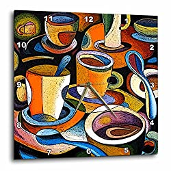 3dRose dpp_21126_1 Cups Poster Mugs Coffe Spoon Abstract Colorful Wall Clock, 10 by 10-Inch