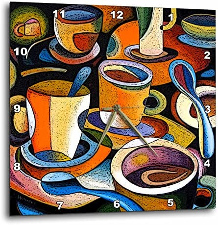 3dRose DPP_21126_2 Cups Poster Mugs Coffee Spoon Abstract Colorful Wall Clock, 13 by 13-Inch