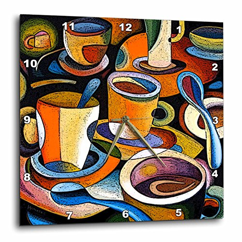 Cups Poster Mugs Coffee Spoon Abstract Colorful Wall Clock