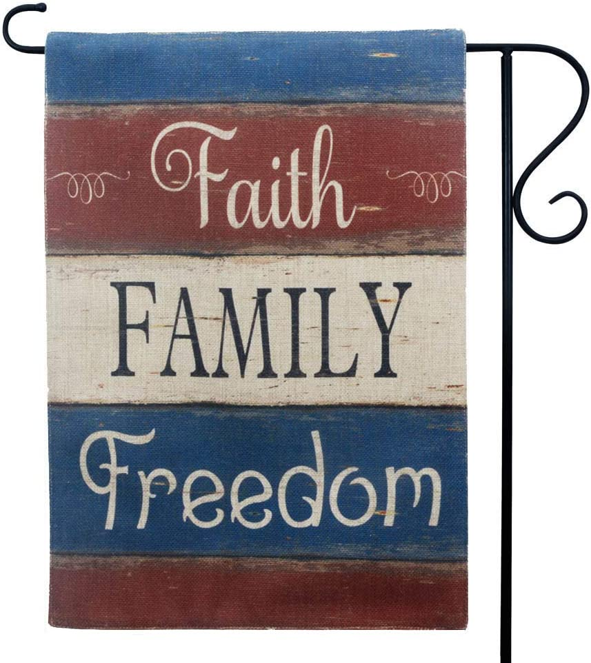 LINKWELL Vintage Faith Family Freedom Patriotic Garden Flag Double Sided 12.5 x 18 Inch 4th of July Holiday Small Yard Flag with Saying Yard Decor Outdoor Home Decorations GF01