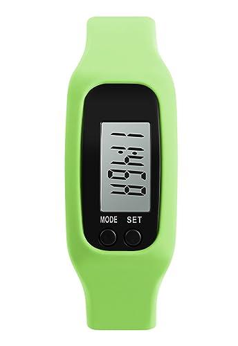 clara niño verde del llevó el reloj digital reloj de pulsera de calorías podómetro con correa de silicona relojes agradables: Amazon.es: Relojes