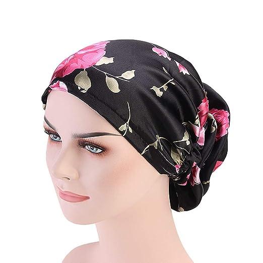 ab4fb193b3250 DuoZan Women s Satin Flower Elastic Band Turban Beanie Head Wrap Chemo Cap  Hair Loss Hat (