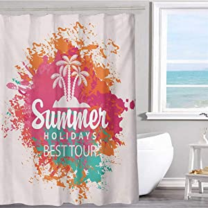 """MKOK Shower Curtain Lining 36""""x72""""inchQuote,Summer Holidays Best Tour Lettering with Palm Tree Island Rainbow Colored Image Print,Multicolor Machine Washable - Shower Hooks are Included"""