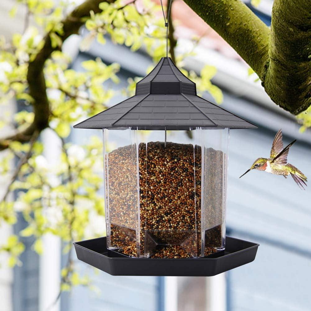 SAND MINE Panorama Bird Feeder, Hexagon Shaped with Roof Hanging Bird Feeder for Garden Yard Decoration (Grey)