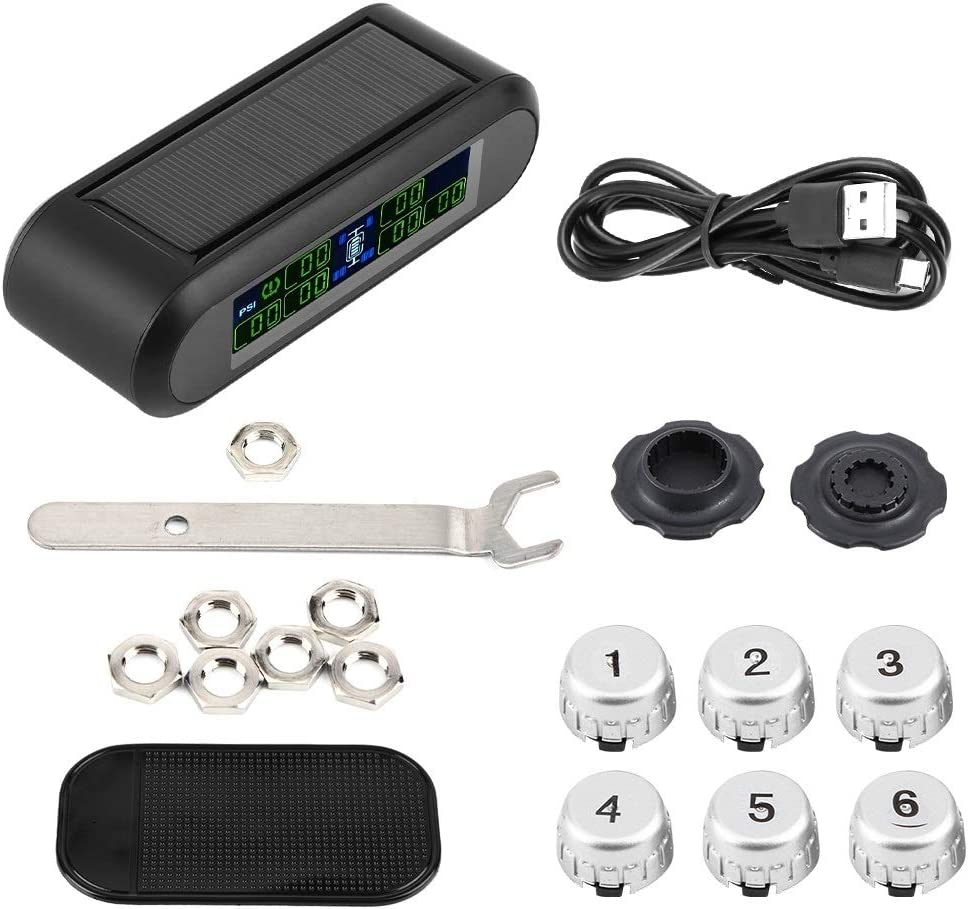 TPMS Wireless Solar Tire Pressure Monitoring System LCD Monitor Alarm with 6 External Sensors