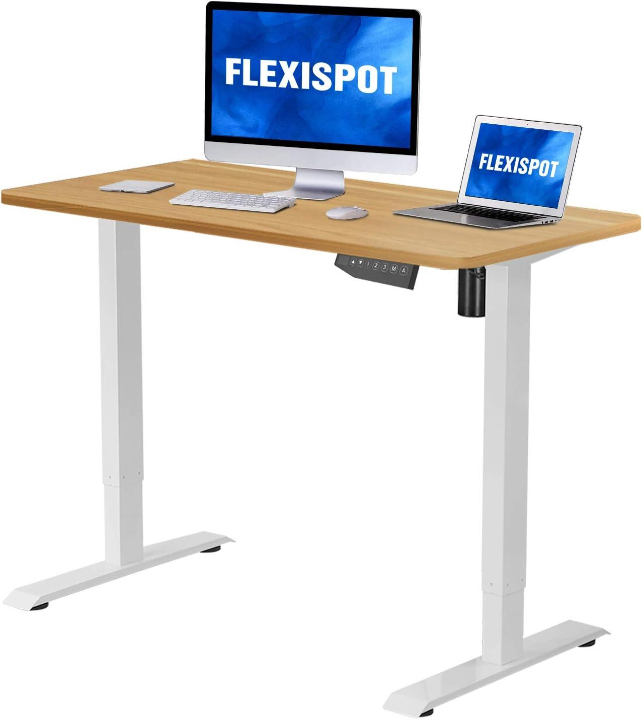 Flexispot Electric Stand Up Desk Workstation with Desktop 42 x 24 Inches Whole-Piece Desk Ergonomic Memory Controller Standing Desk Height Adjustable Black Frame + 42 Black Top