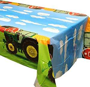 Blue Orchards Tractor Party Tablecovers (2), Tractor Birthday Party Supplies, Tractor Table Decorations, Tractor Party, Table Setting