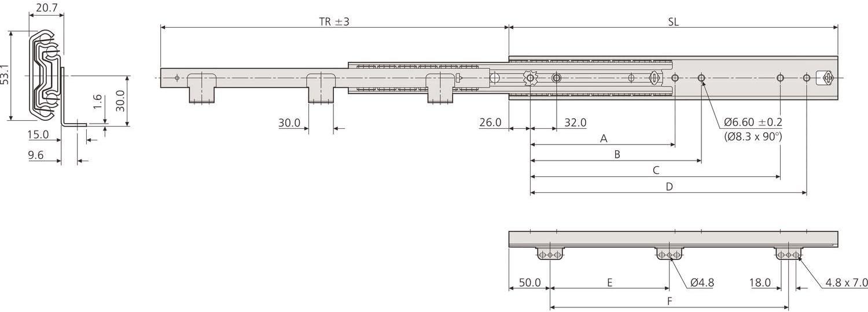 ACCURIDE 103360115 5321-60 Housse pour cage /à billes 550 mm