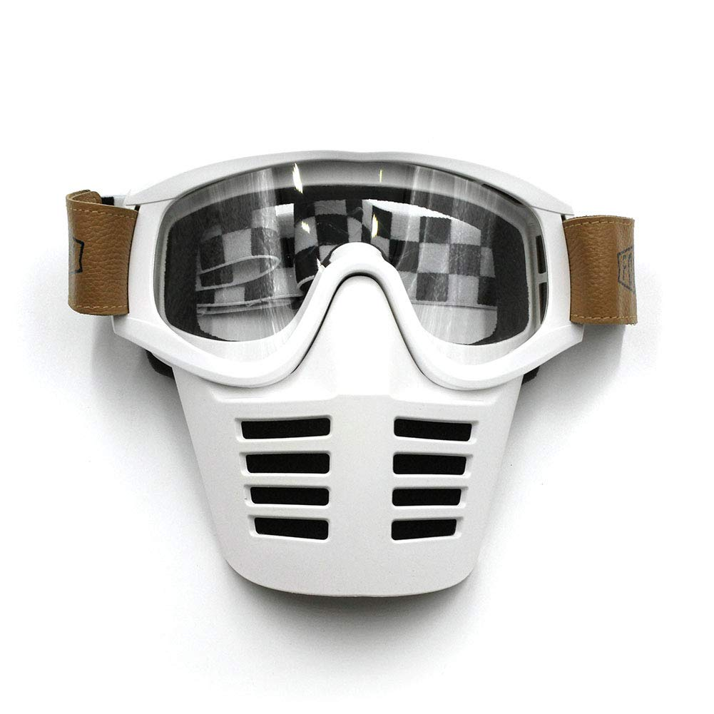 QAQ Retro, Locomotive Goggles, 3 Pairs of Lenses, Detachable, Motorcycle Riding Glasses, Windproof/Sandproof/Dustproof/UV Resistant,White,OneSize