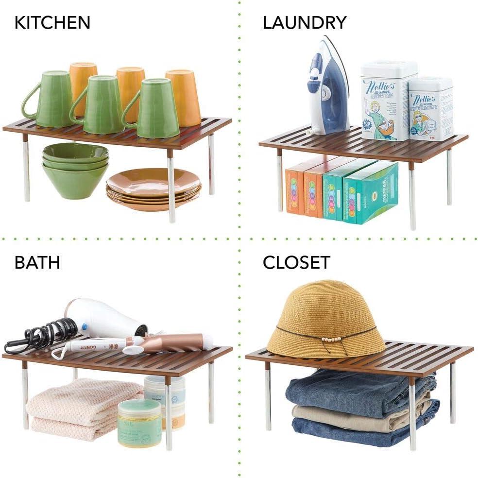 Pr/áctico sistema de almacenaje de cocina de bamb/ú y metal mDesign Organizador de cocina etc encimeras natural Elegante estante de almacenamiento para armarios de cocina