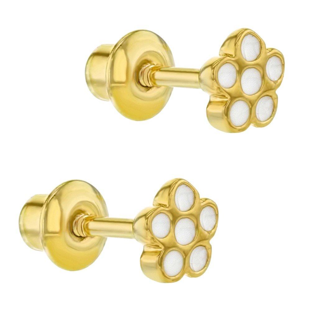 Chapado en Oro 18k Esmalte Blanco Peque/ña Flor Aretes con Cierre de Rosca para Ni/ñas In Season Jewelry