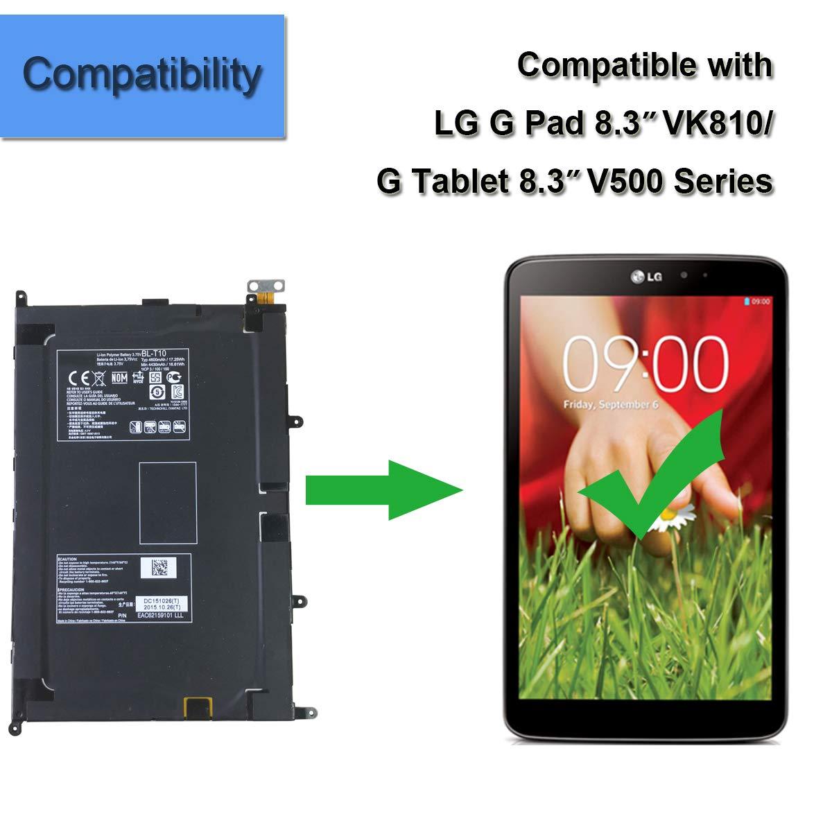 US ship New 3.75V 4600mAh BL-T10 Battery For LG G Pad 8.3 VK810 V500