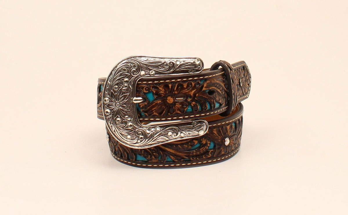 Ariat Girl's Pierced Floral Strap Belt, Brown, 30