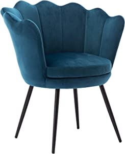 Comfy Desk Chair no Wheels, Velvet Upholstered Accent Chair, Vanity Chair for Living Room, Bedroom, Dining Room, Teal Blue