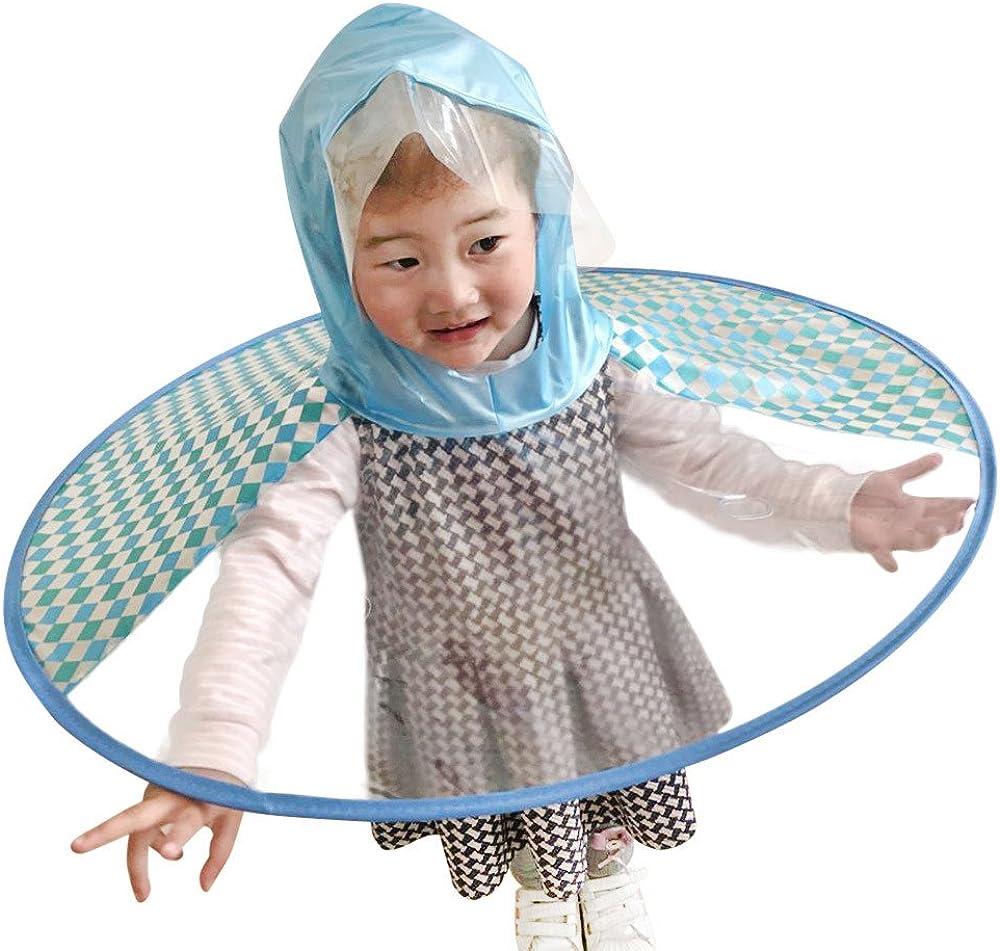 Lonshell/_Baby Kleidung Cute Cartoon Little Yellow Duck Children Raincoat Baby Waterproof Cloak Foldable UFO Shape Transparent Umbrella Rain Hat Cap Kids Hands Free Poncho Outdoor Rain Suit