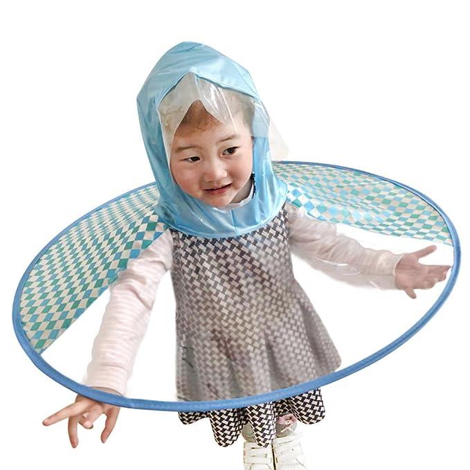 Dtuta Faltbarer Niedlicher Regenmantel UFO-Kinderregenschirm-Hut-Magische HäNde Geben Regenmantel Frei