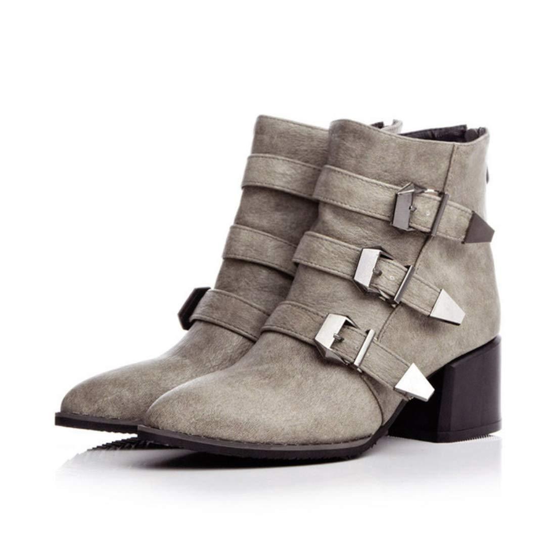 DANDANJIE Damen Stiefel Schnalle Chunky Heel Stiefelies Herbst Winter Mode Stiefel Stiefeletten