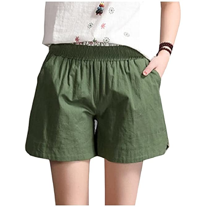 a4ce3b84ad Zimaes-Women Linen Solid Colored High-Waisted Plus Size Chino Shorts Army  Green XL