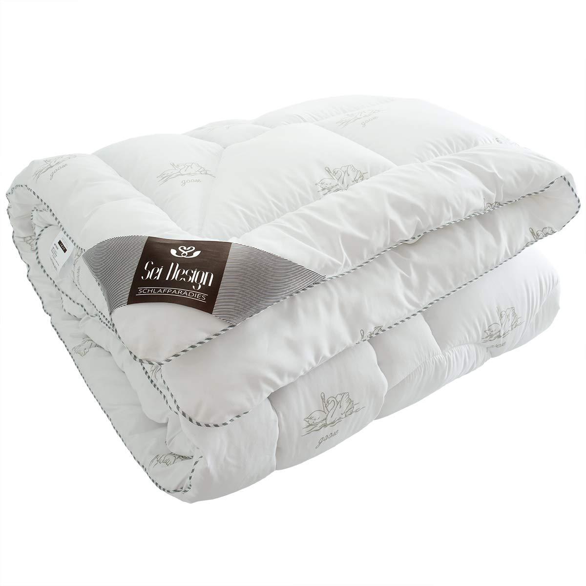 Sei Design Premium Winter Bettdecke SWAN – 155x220 mit daunenähnlicher Füllstruktur – SWAN extra warm – Bezug 100% Baumwolle   leichte Decke mit hoher Wärmehaltung 390911