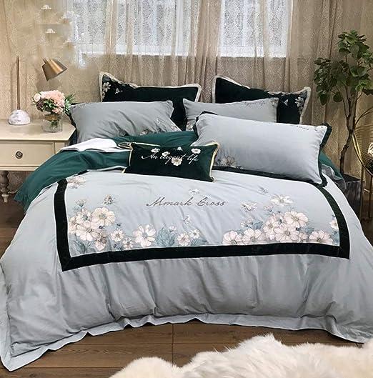 QAZ de Cuatro Piezas cama-80S algodón Egipcio Bordado lecho 4pcs ...