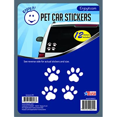 Enjoy It Pet Paw Car Stickers, 12 Pawprint Stickers, Outdoor Rated Vinyl Sticker Decals for Windows, Bumpers, Laptops or Crafts: Automotive