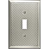 Questech Pyramid Decorative Metal Composite Switch Plate/Wall Plate/Outlet Cover (Single Toggle, Brushed Nickel Polish)