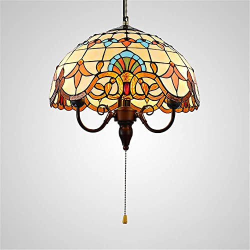 BAYCHEER Tiffany Style Stained Glass Bowl Shade Pendant Light Chandelier Decorative Hanging Lamp Pendant Lighting Adjustable Ceiling Fixture with Pull Chain 3 Lights for Living Room Dining Room