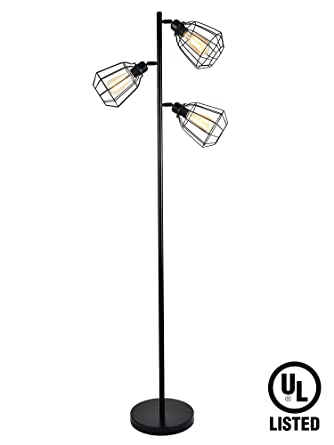 LEONLITE 65inch Track Tree Floor Lamp 3 Head Torchiere Fixture Bulbs