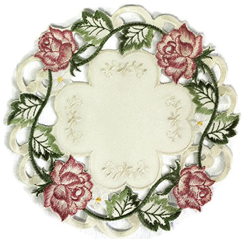 Doily Boutique Round Doily with Victorian Pink Roses on Ivory Fabric, Size 11 inches