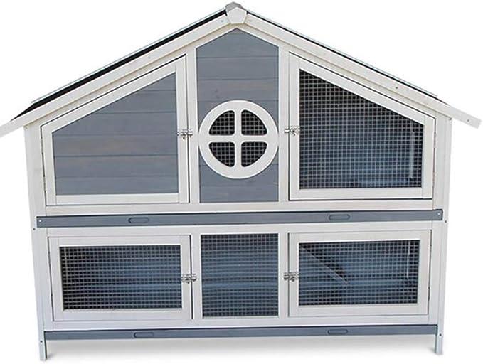 DAXINYANG Almacén Conejera de Madera de 2 Plantas Bandeja extraíble de Alambre de Malla de ventilación de la Puerta Exterior de la Jaula del Animal doméstico Animal Conejo Casa,BlueGray