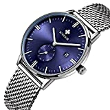 Mens Luxury Stainless Steel Mesh Band Watch With Date Male Casual Dress Sport Wrist Watches Blue